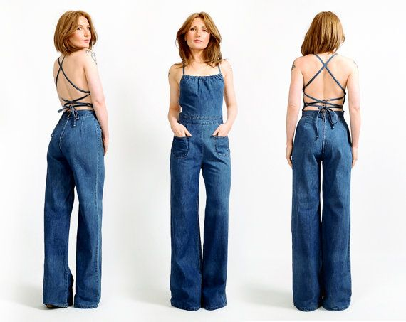 4108ad65025 RESERVED for Chloe vintage 70s BACKLESS denim bell bottom Jumpsuit S ...