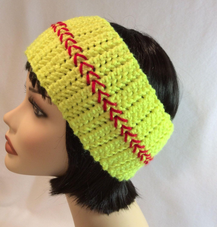 Softball Ear Warmer Headband Crochet Yellow & Red Baseball Adult ...