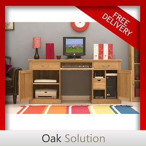 Conran solid oak modern furniture large hidden home office PC computer desk | eBay