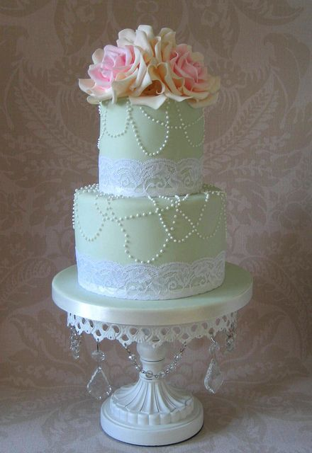 Gorgeous Vintage Themed Mint Wedding Cake With Lace Pearls And Flowers Weddingcake