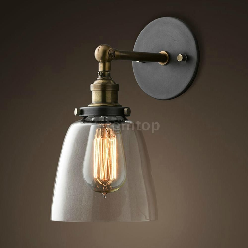 Vintage Glass Wall Sconces Rustic Country Lamps Kitchen In Orlando Wire Cage Retro Sconce Light Brass