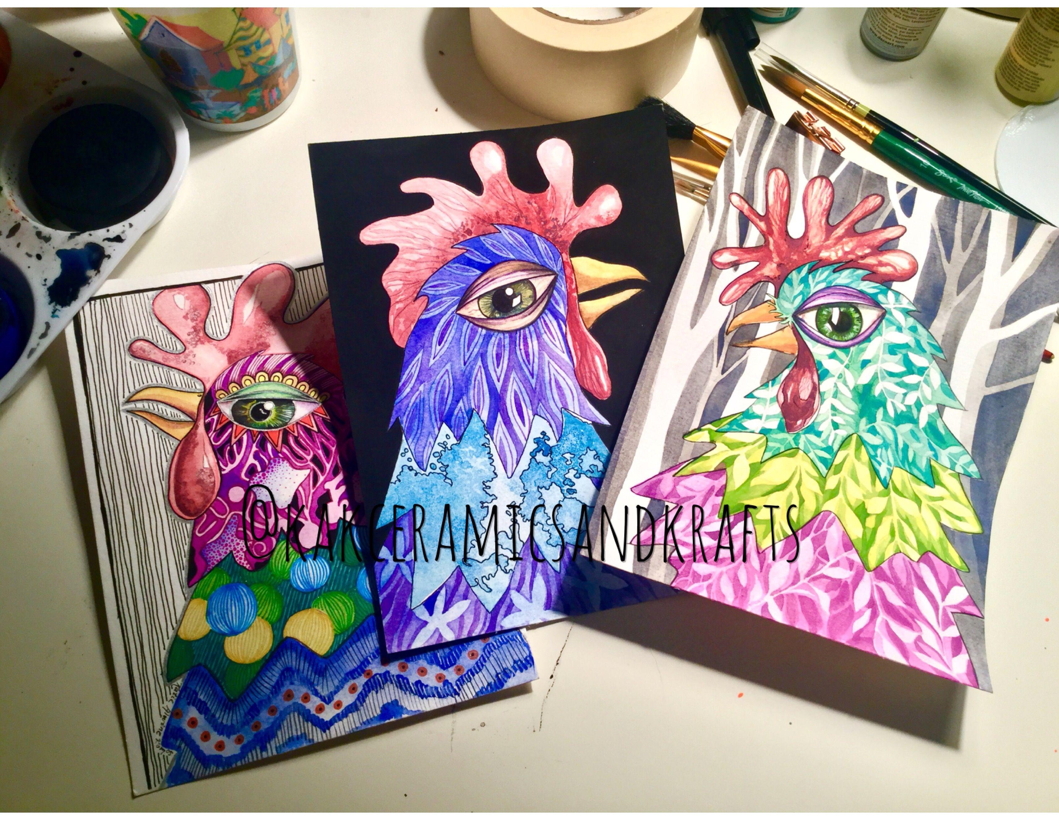 Tempera Watercolor Chickens By Katie Alwine Komos Chickens