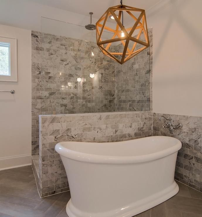 Master Bathroom Ideas With Freestanding Tub : Exquisite master bathroom features a wood polyhedron