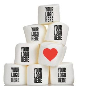 """***Please see shop announcement before ordering***  Custom/ Logo Marshmallows  Description: This listing is for 12 jumbo marshmallows (approx 2"""")"""