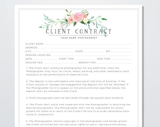 Wedding Photography Contract Template Client Booking Form Contract Wedding Contract Template Wedding Photographer Contract Template Wedding Photography Contract Template Photography Contract Wedding Photography Contract