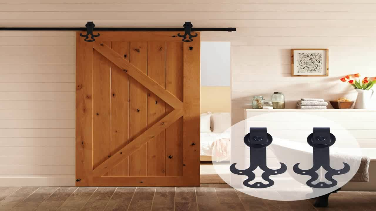 10ft Bent Straight Rustic Black Double Sliding Barn Door Hardware 10ft Trac 43167266 Interior Wood Doors What You Must Look For Internal Barn Doors Slidi