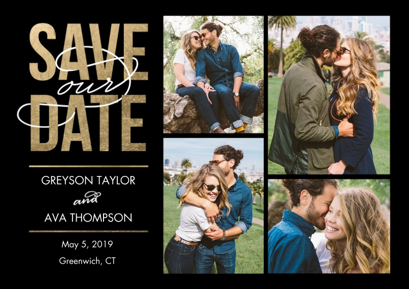 Personalized Save The Date 5x7 Cards, Premium Cardstock 120lb
