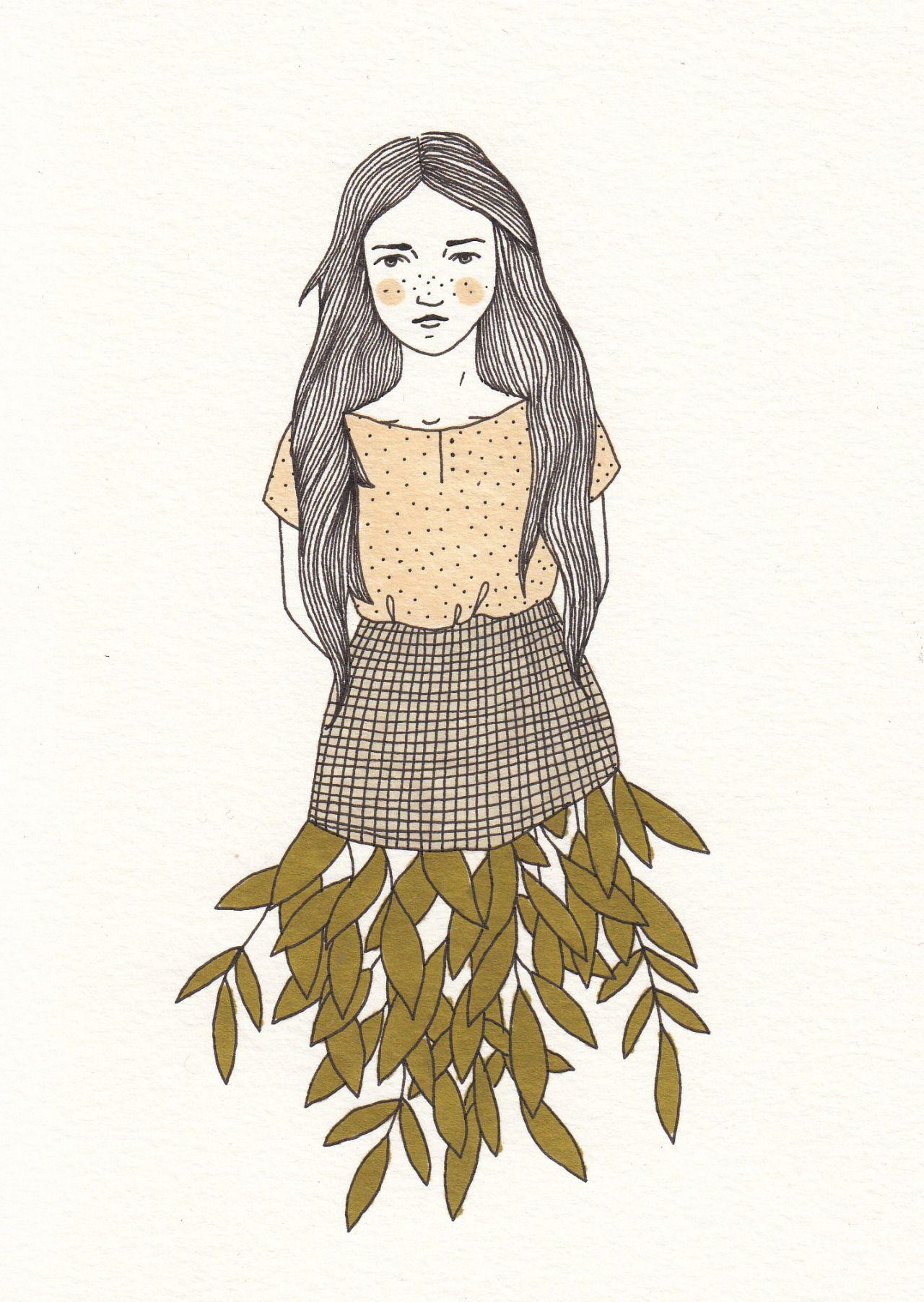 girl plant doodle Indie art, Illustration art, Cute art