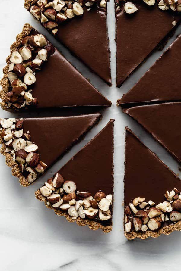 Vegan chocolate hazelnut tart