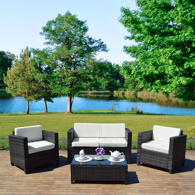 300 New 4 Piece Grey Light Brown Roma Rattan Garden Furniture Sofa Set With Coffe Rattan Garden Furniture Garden Furniture Sets Grey Rattan Garden Furniture