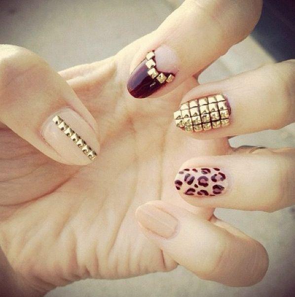 Pretty nail design w/ stick-on studs.