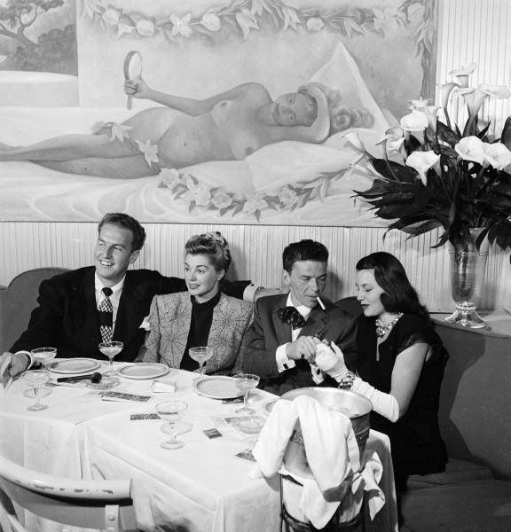 Esther Williams with Ben Gage, Frank Sinatra and Cyd Charisse in the Champagne Room at Ciro's in 1946.