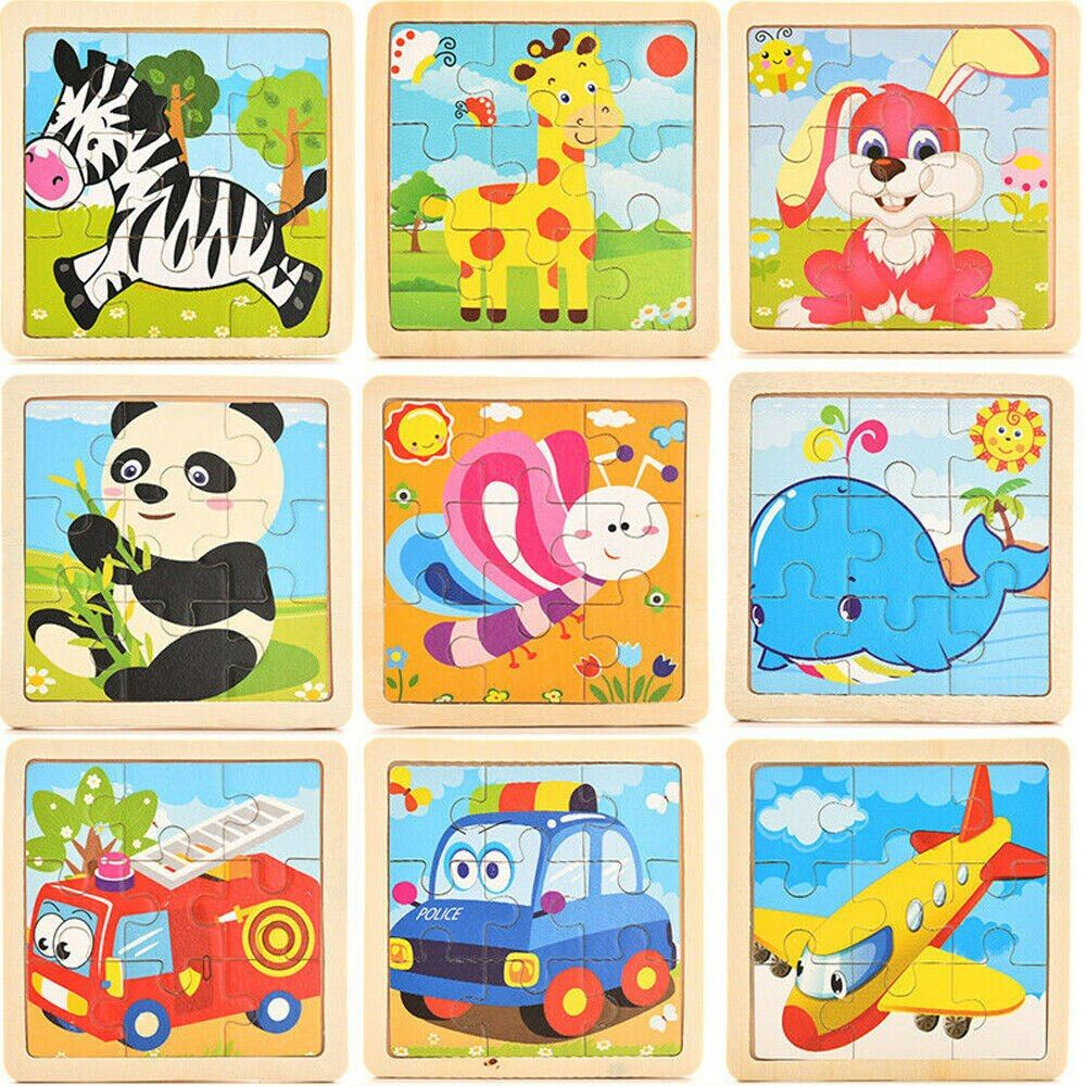 Cute Wooden Puzzle Cartoon Kids Baby Educational Learning Puzzle Toys