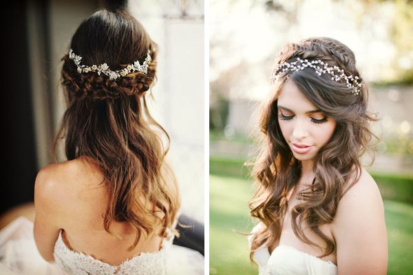 Veinticinco Peinados De Novia De Pelo Suelto Con Trenza Peinados - Pelo-suelto-novias