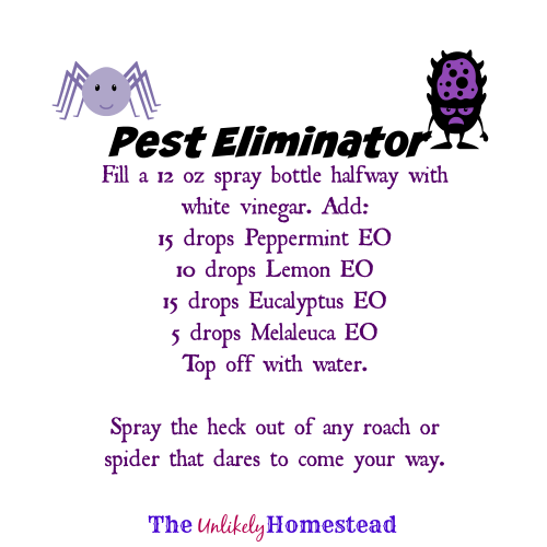 Pest Eliminator Spray, essential oil recipe from The Unlikely Homestead