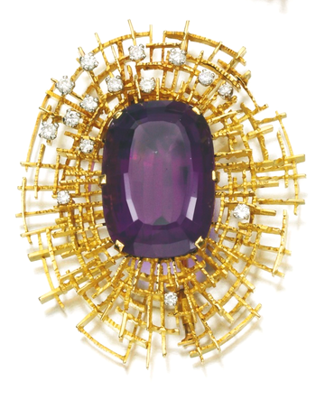 AMETHYST AND DIAMOND JEWELS, 1960S