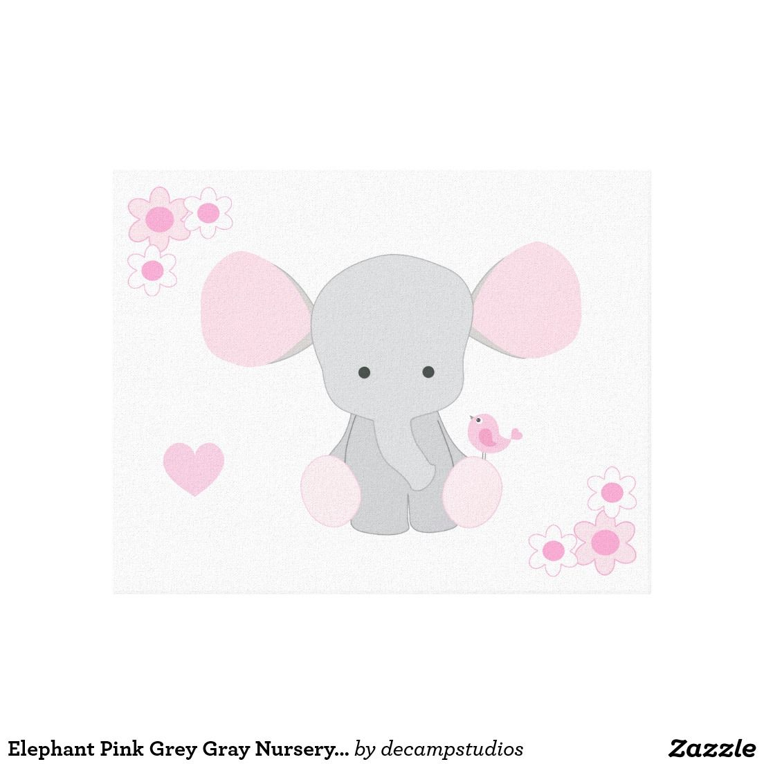 Elephant nursery wall art print mom baby dad by rizzleandrugee - Elephant Pink Grey Gray Nursery Baby Girl Canvas Wall Art Print Decampstudios