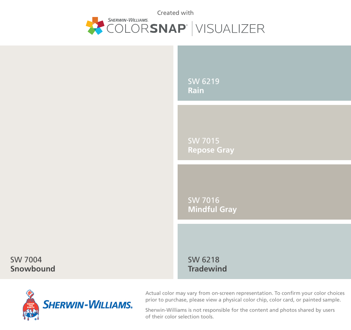 I Love These Color Combos By Sherwin Williams Snowbound Sw 7004 Rain Sw 6219 Repose Gray