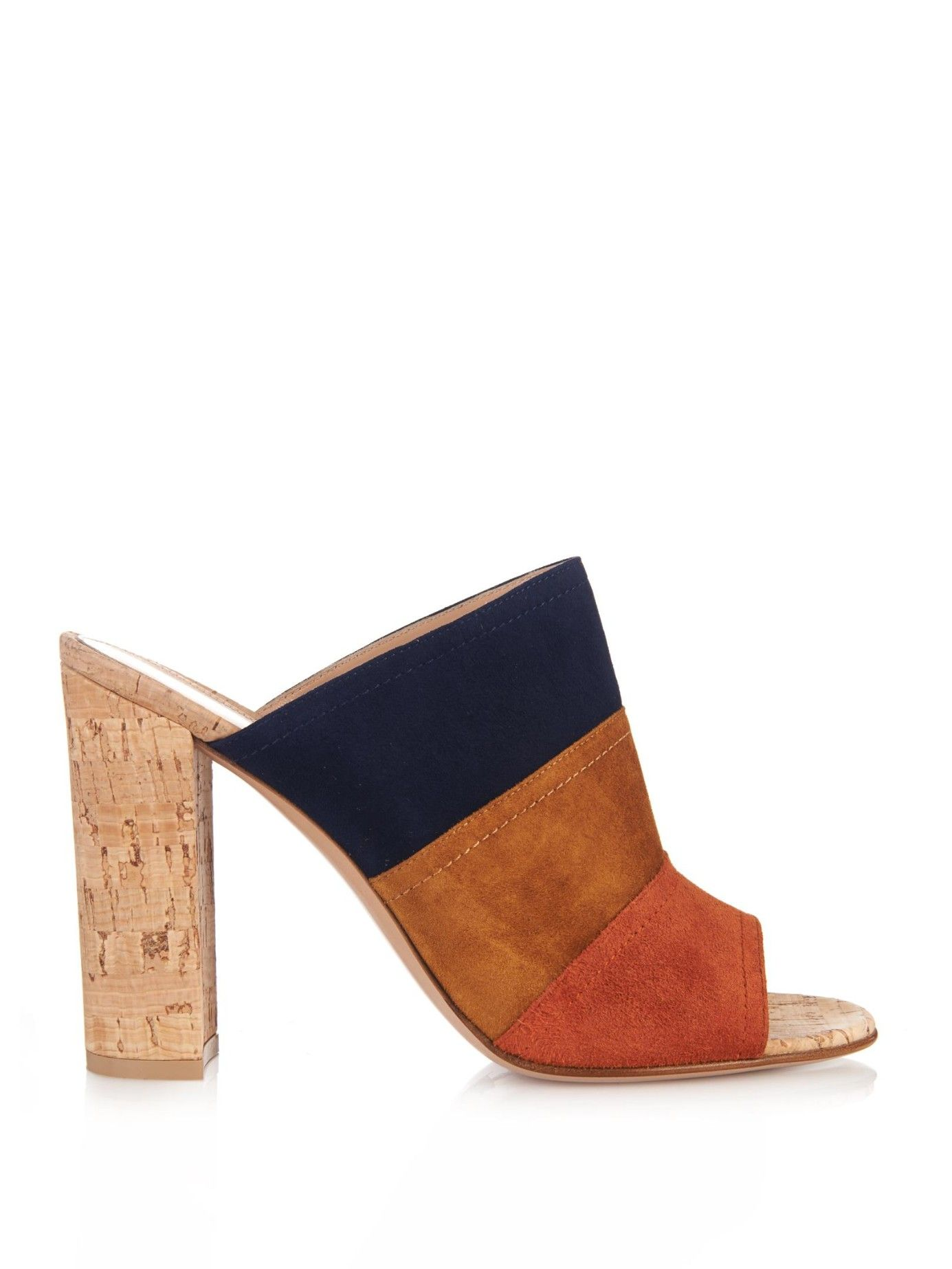 Womens High Heels Gianvito Rossi Tri Colour Suede and Cork Mules Heels gianvitorossi On Sale Store