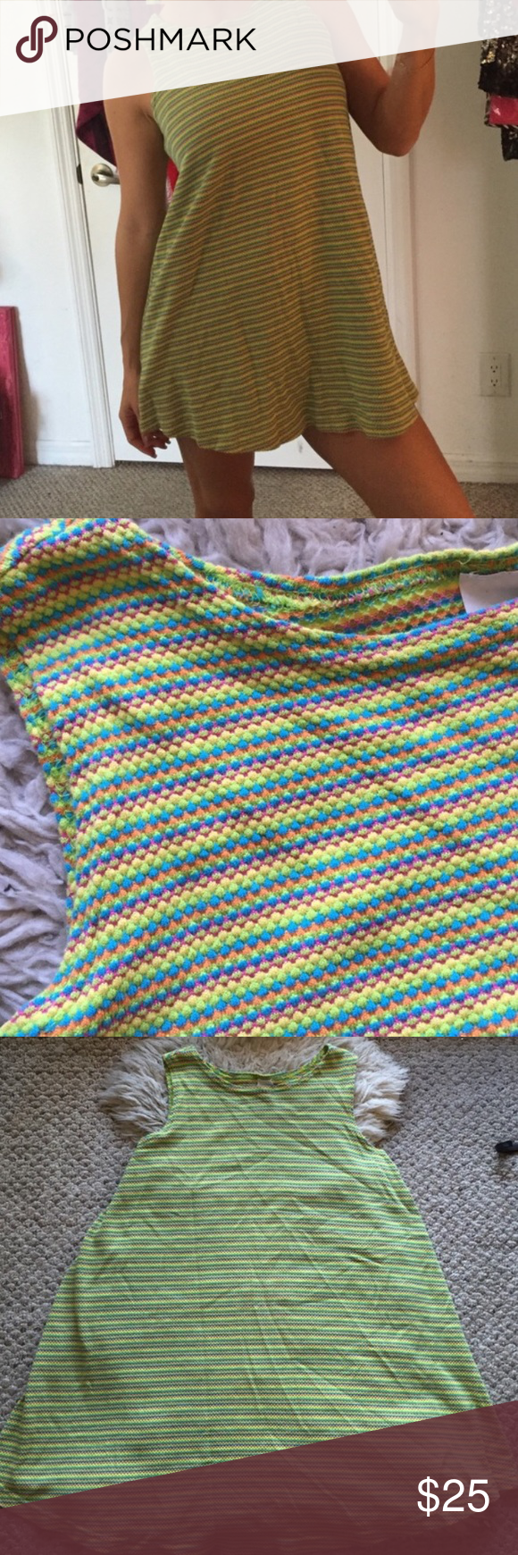 Nasty gal limited edit. 1970s A-line tunic Super cute piece, meant to be worn as a shirt or super short dress with multicolor spring stripes. Nasty Gal Dresses Mini