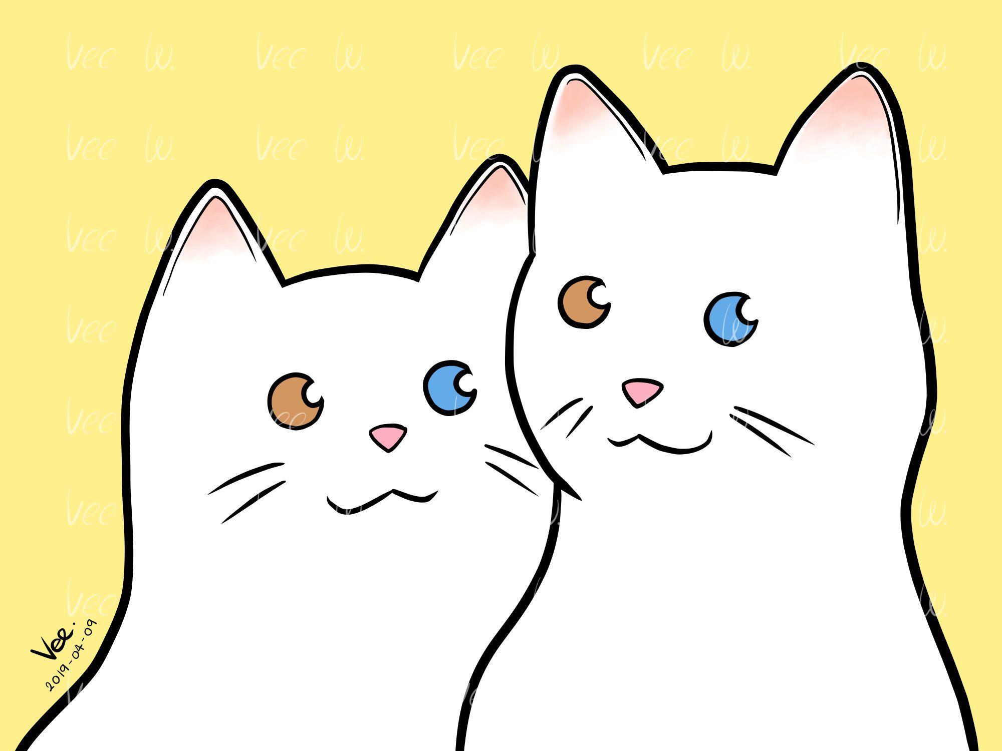 ภาพวาดแมวค ตา 2 ส ในร ปแบบการ ต น ต วภาพท พ มพ แล วสามารถป องก นน ำได ส ไม หล ดหร อละลายเม อโดนน ำ ไม แนะนำให นำภาพไปแช ลงในน ำหร สอนวาดร ป ส พ นหล ง
