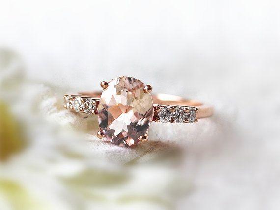 VS 6x8mm Morganite Ring Oval Cut 14K Rose Gold Morganite Wedding Ring Diamond Engagement Ring Anniversary Ring Gemstone Ring Diamond Wedding