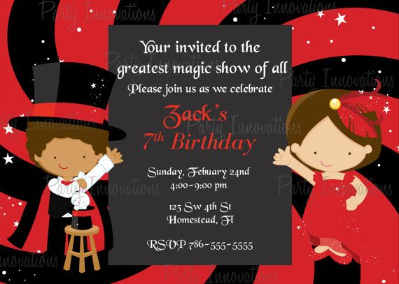 Printable Magic Show Party Invitation Plus By Partyinnovations09
