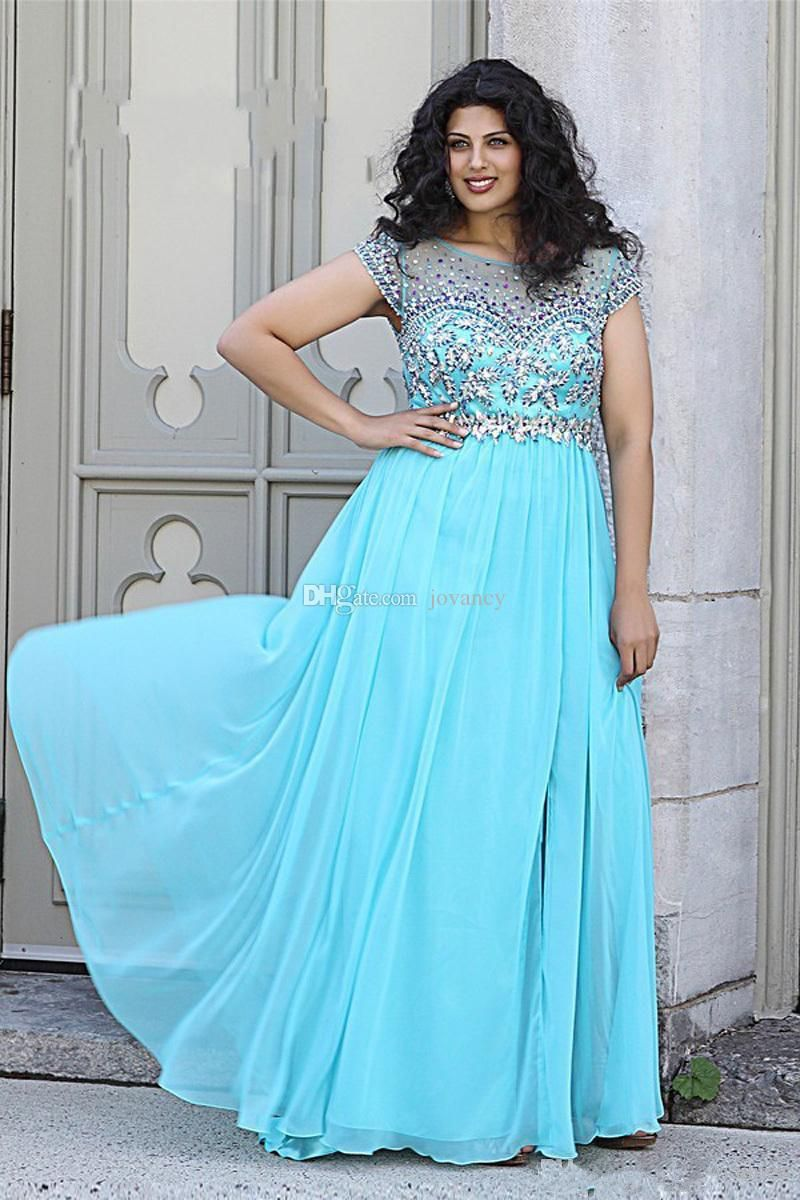 2015 Plus Size Prom Dresses A Line Crystal Beads Appliques Sheer ...