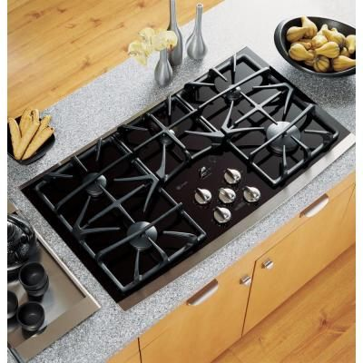 Ge Profile 36 In Gas On Glass Gas Cooktop In Stainless Steel With
