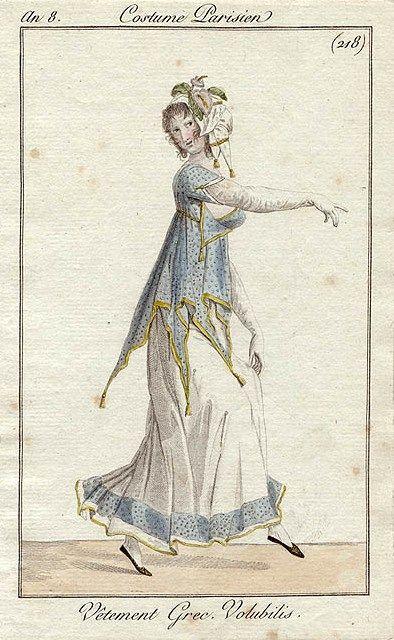 "c. 1800, ""Vetement Grec. Volubilis."" Translation: ""Greek morning glory clothing."" Interesting."