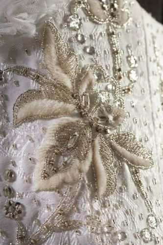 Embroidery of a wedding dress by Jaouen from Britany -  contemporary artist from France