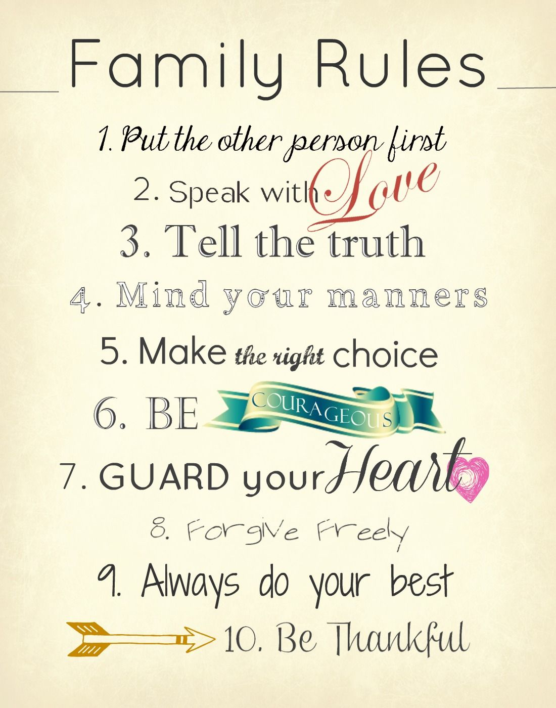 Family Rules - love #3