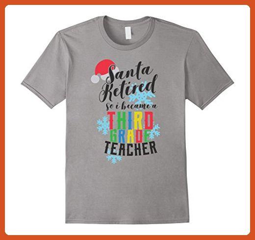 mens santa retired third grade teacher christmas shirt xl slate careers professions shirts