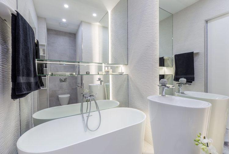 graue einrichtung bad weiss freistehende badewanne #innendesign