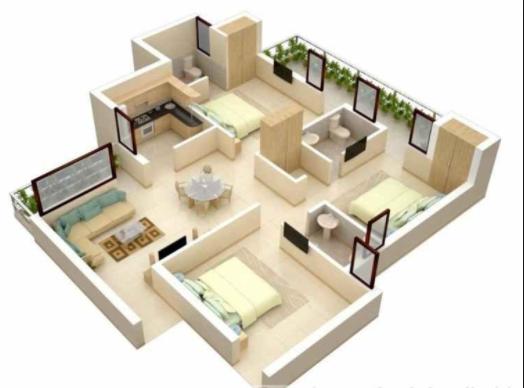 gambar rumah ukuran 8x10 3 kamar tidur