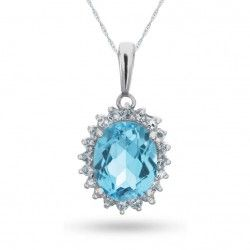 Sterling Silver, Blue and White Topaz Necklace.  $49.99 while supplies last!