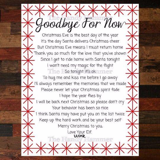 Departure Leaving Letter for your Shelf Elf Goodbye Letter From