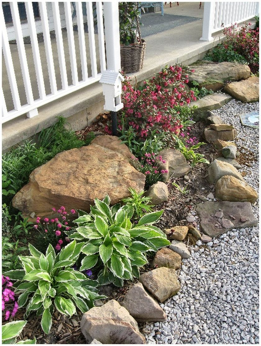Rustic Flower Beds With Rocks In Front Of House Ideas 3 Porch