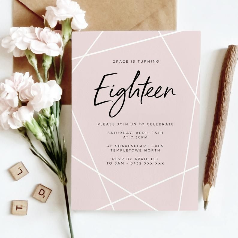 pink geometric 18th birthday invitation