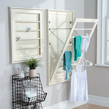 Space Saving Wall Mount Drying Racks Small Laundry Room Organization Laundry Room Storage Shelves Laundry Room Design