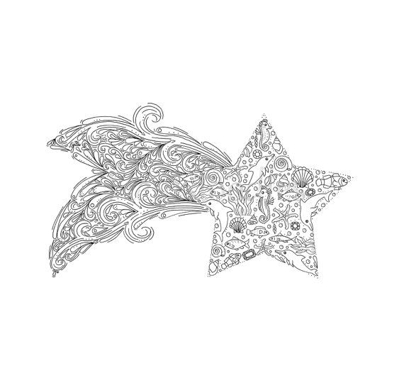 coloring page - Star Fish - printable instant download, unique hand ...