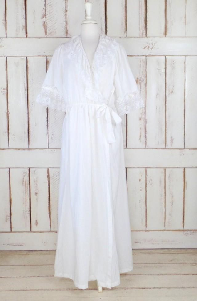 0b4676720f Vintage white cotton ruffle lace peignoir dressing gown white lace lingerie cotton  lace robe bridal robe Features… -beautiful white ruffle