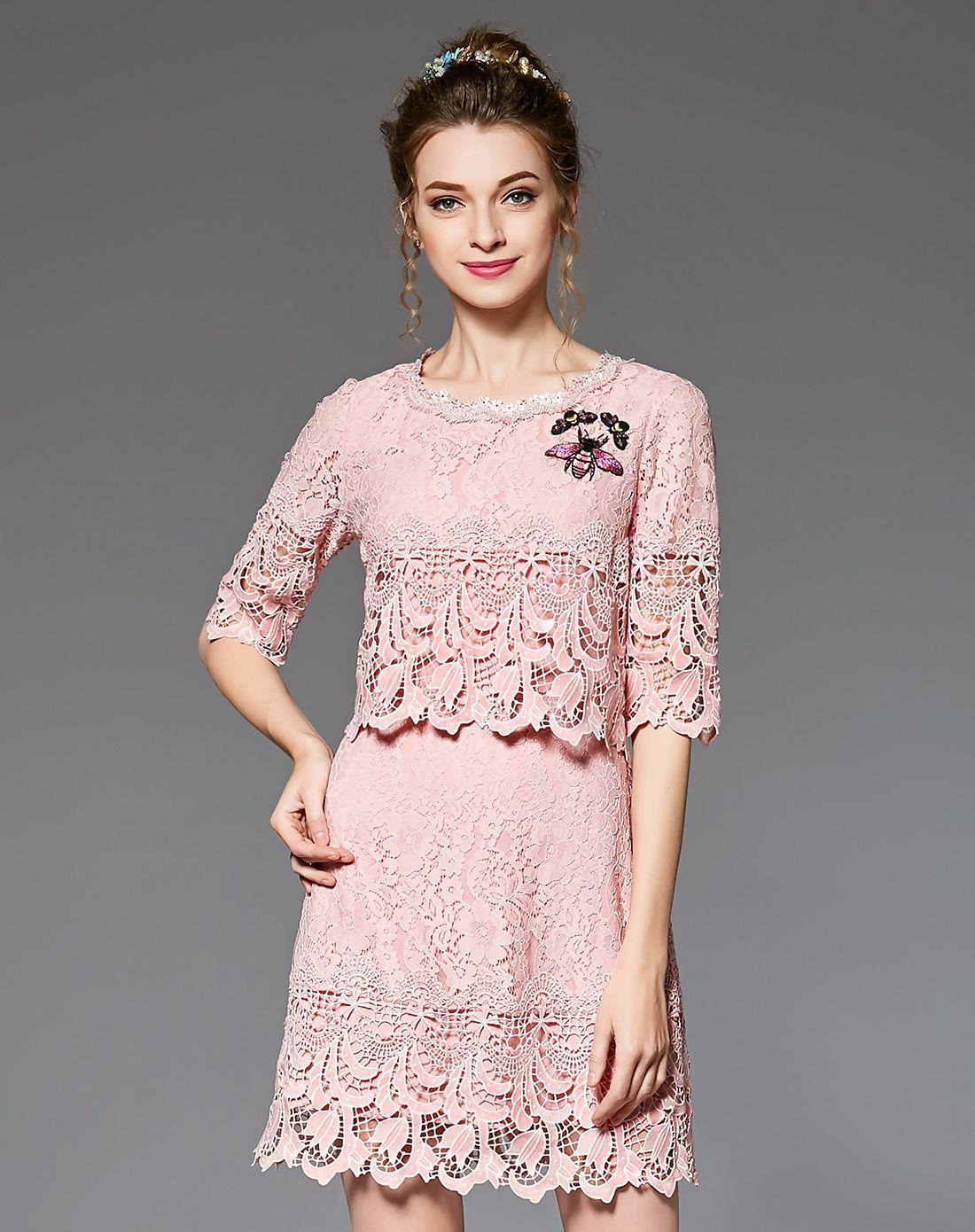Adorewe vipme sheath dressesdesigner ouyalin pink cutout lace