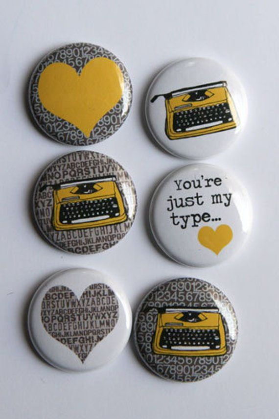 Typewriter Flair yellow | Products in 2019 | Buttons, Yellow