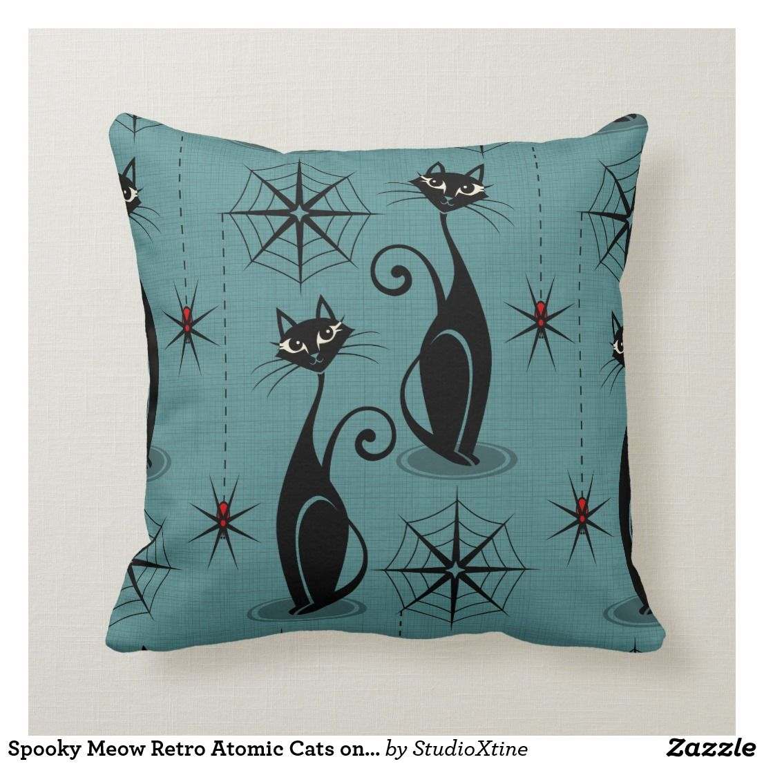 Spooky Meow Retro Atomic Cats on Blue Throw Pillow