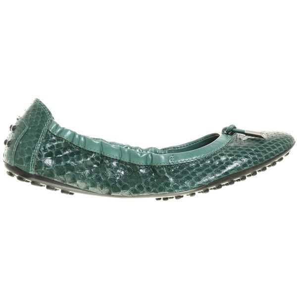 Pre-owned Reptile leather ballerinas (19.155 RUB) ❤ liked on Polyvore featuring shoes, flats, green, leather shoes, leather flats, leather ballet shoes, leather ballet flats and ballerina flats