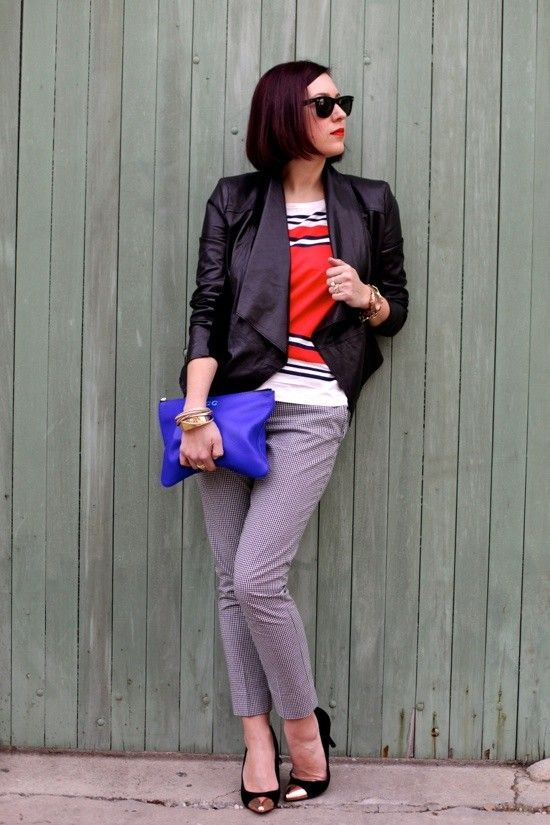 Black jacket, White with color tee, Gray trousers, Black shoes - Casual Outfit