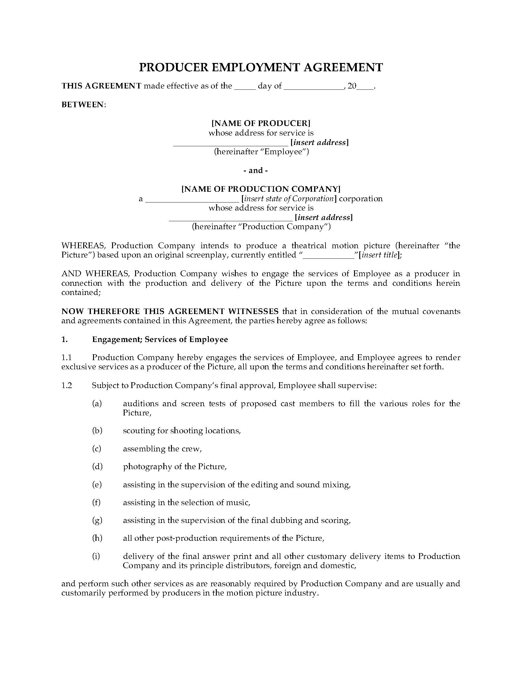 1st Page Producer Employment Agreement Sample Template Contract