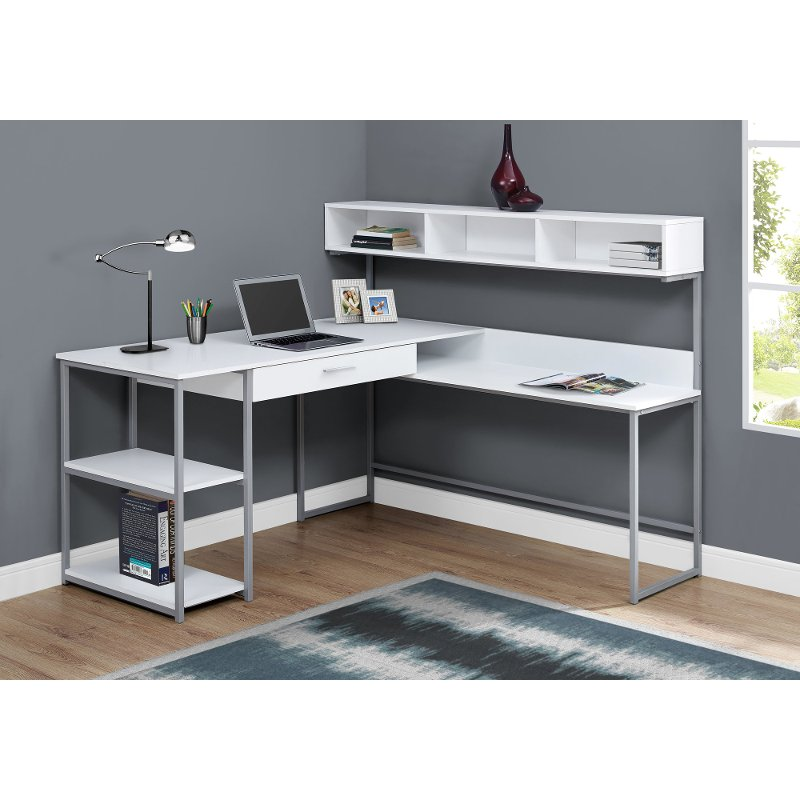 White And Silver Metal Corner Computer Desk L Shaped Desk L Shaped Corner Desk White Desks