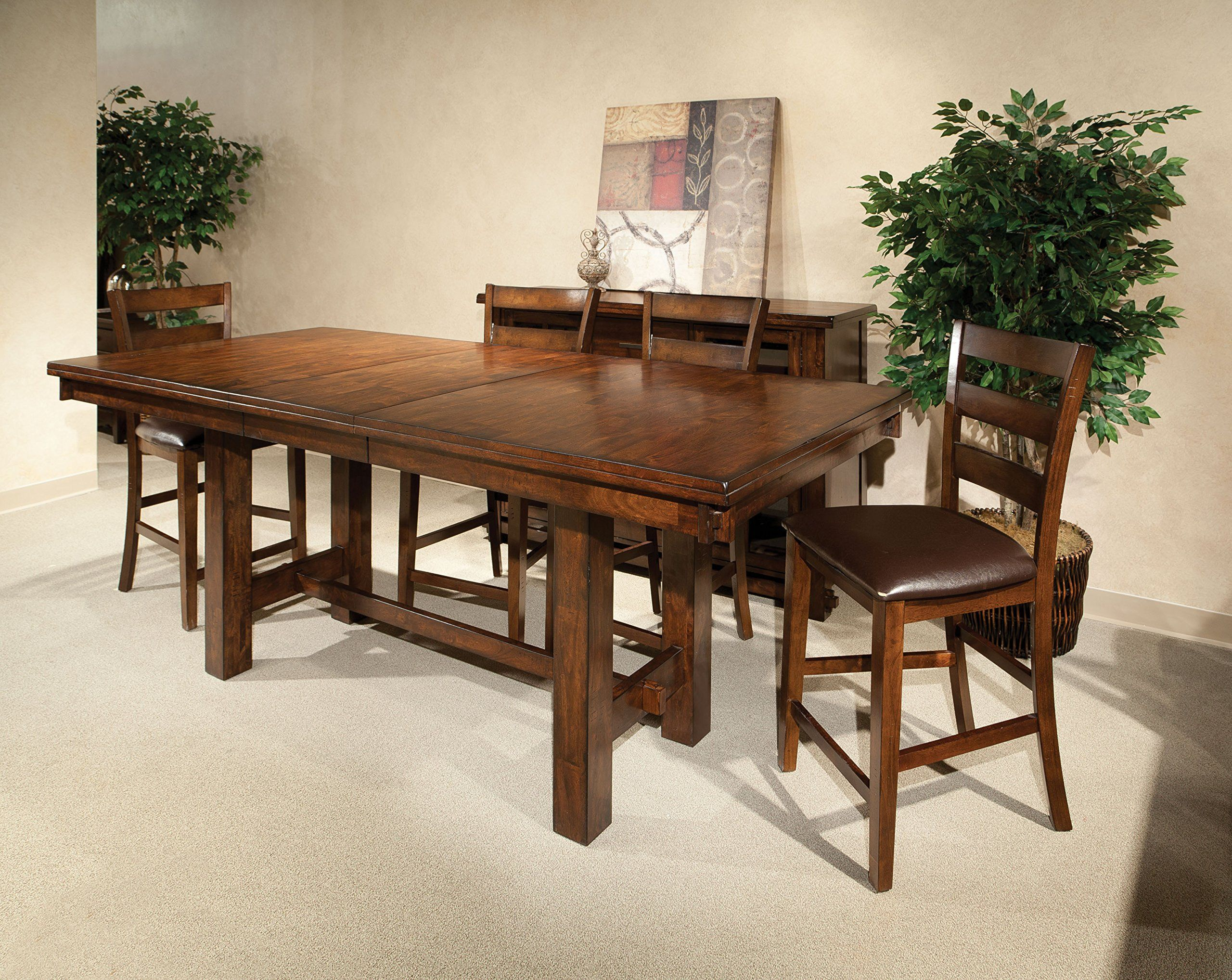 Incredible Intercon Kona Mango Wood 7 Pc Trestle Gathering Set Gmtry Best Dining Table And Chair Ideas Images Gmtryco